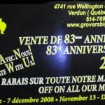 M.H. Grover & Fils : Vente 83ième anniversaire!! 20 à 50% de rabais